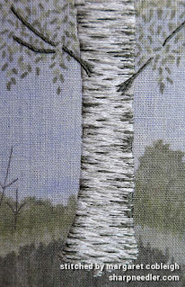 Completed embroidered birch trunk (design by Jo Butcher)