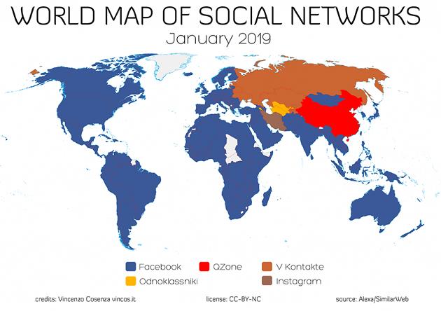 Qual è il social più amato nei vari Paesi del Mondo nel 2019?