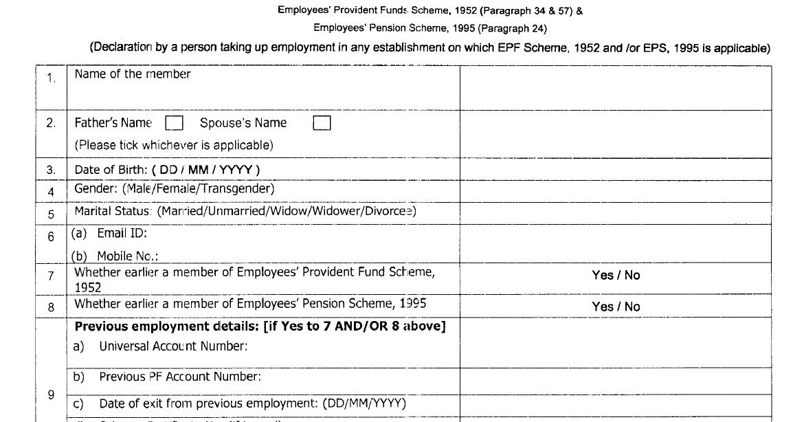 Epfo Introduction Of Declaration Form New Form No   Central