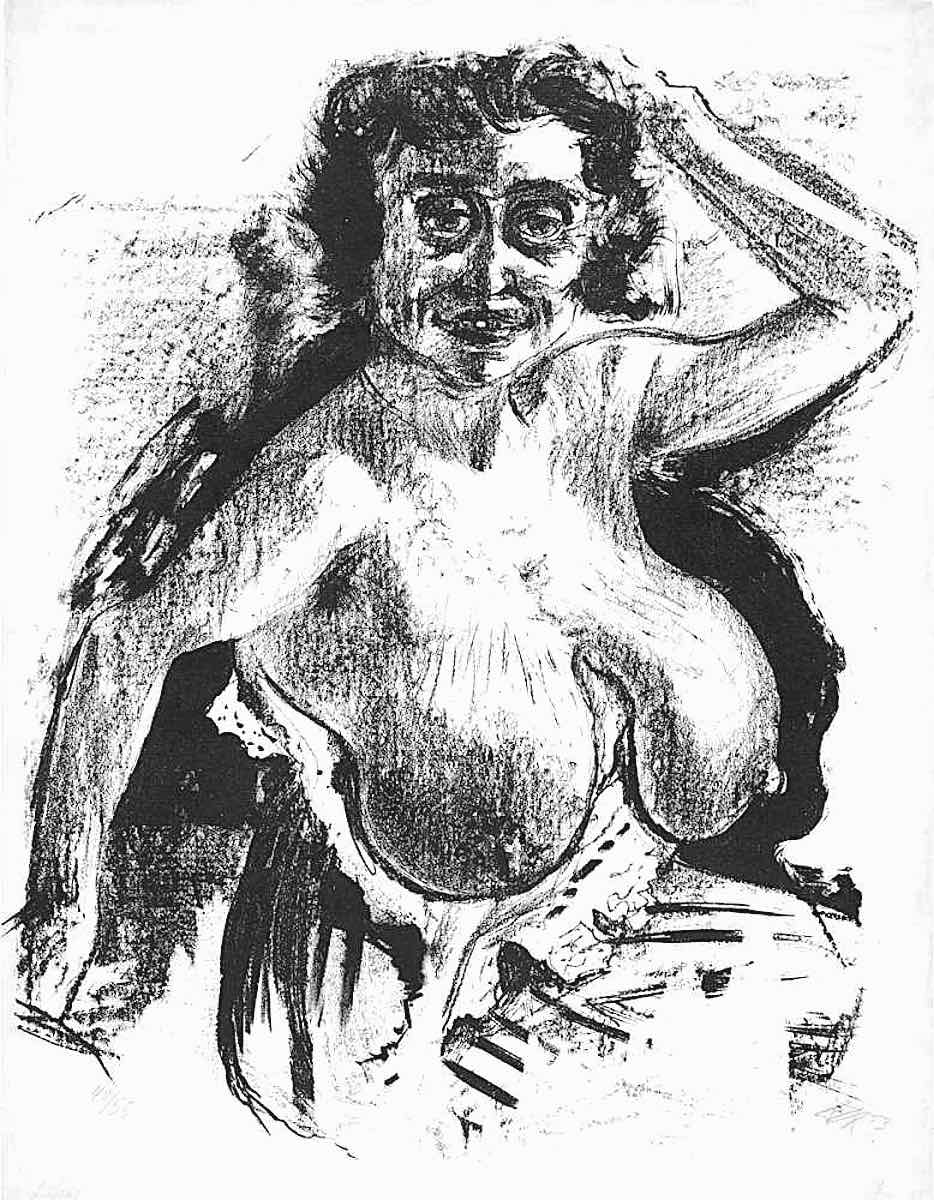 a drawing by Otto Dix of a smiling older woman with breasts exposed
