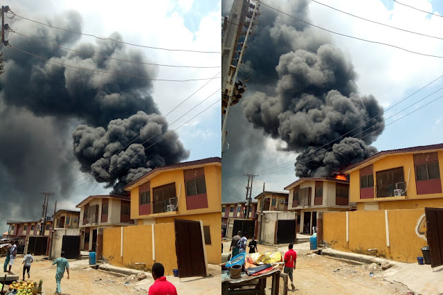 NNPC petrol station in Ogba Lagos engulfed by fire