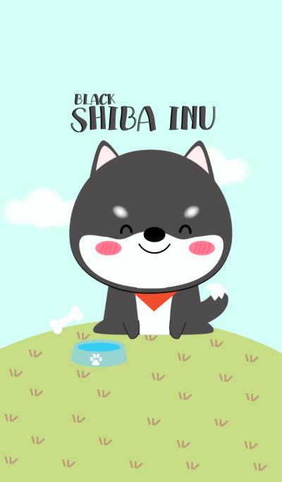 Cute Black Shiba Inu Dog Theme