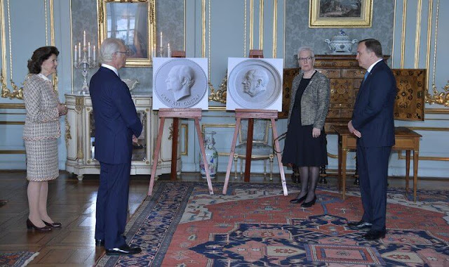 Queen Silvia wore a tweed jacket and skirt from Ann-Taylor. Crown Princess Victoria, Princess Estelle, Princess Sofia