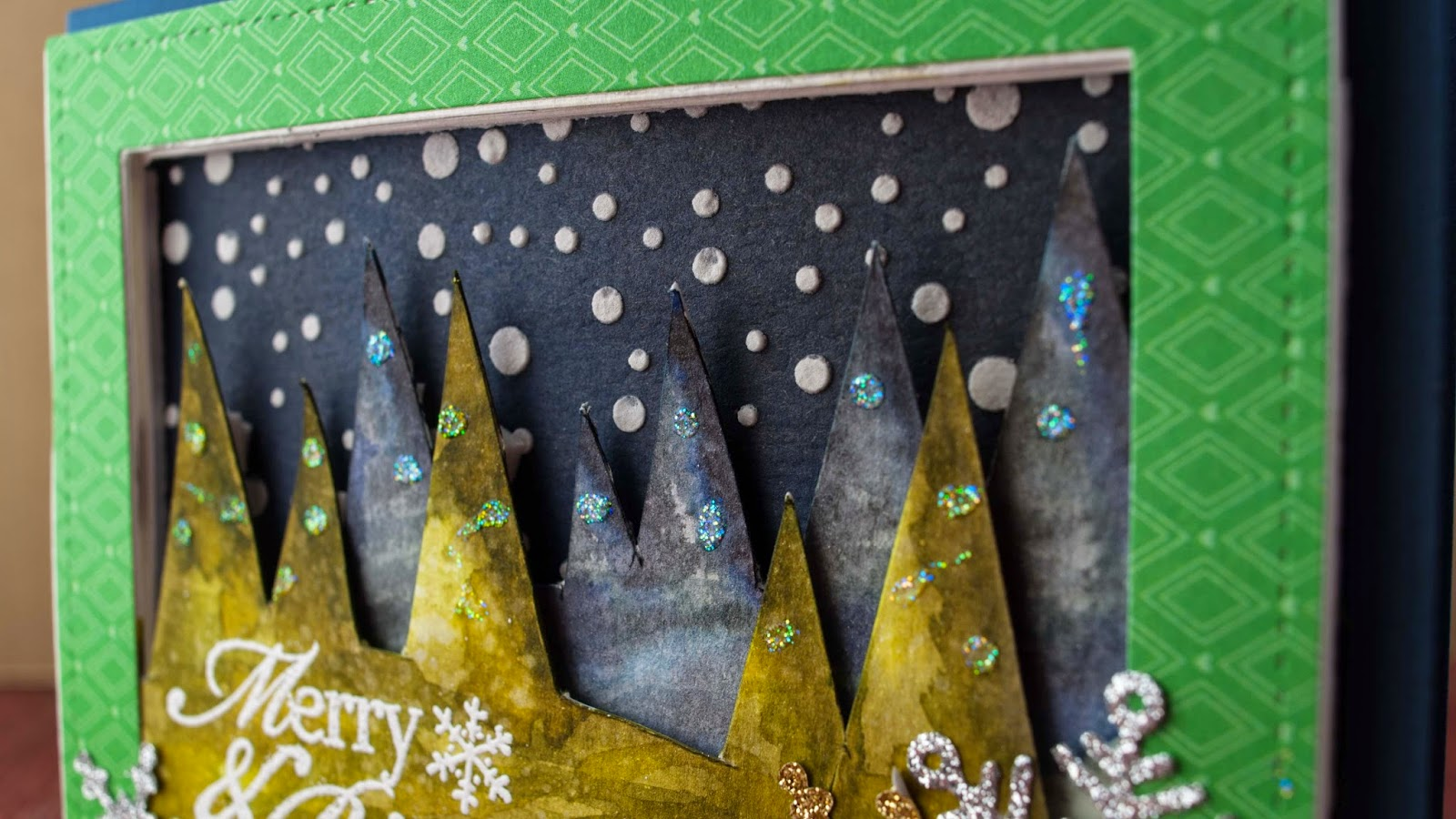Watercolor winter scene with shadow box effect - holiday serie 8
