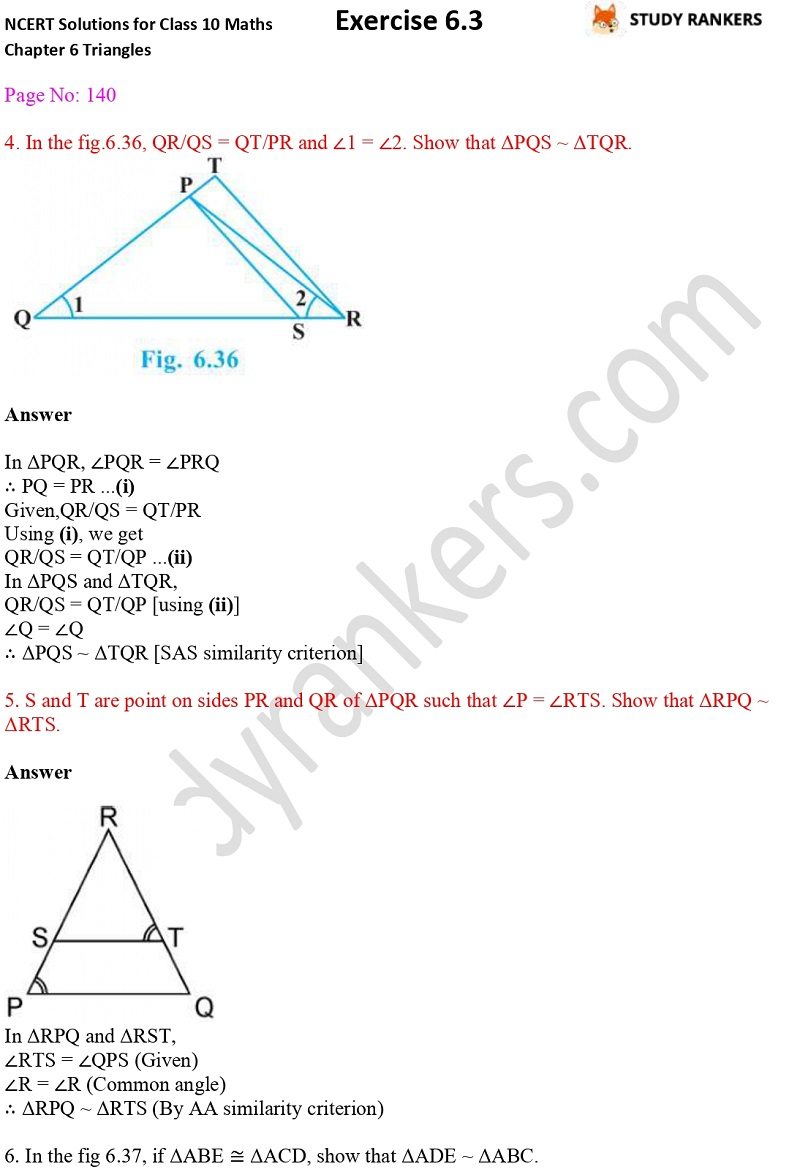 NCERT Solutions for Class 10 Maths Chapter 6 Triangles Exercise 6.3 Part 4