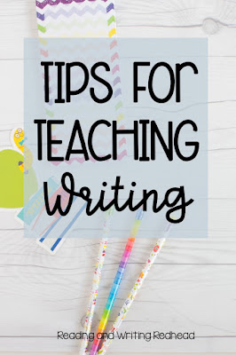 Image of pencils on wood table with label Tips for Teaching Writing