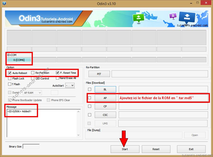 Mettre fichier .tar.md5 dans ODIN (N910FXXU1BOC3)