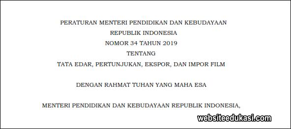 Permendikbud 34 Tahun 2019 tentang Tata Edar, Pertunjukan, Ekspor, dan Impor Film