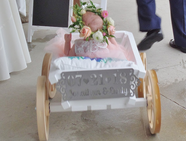 baby flower girl in wagon