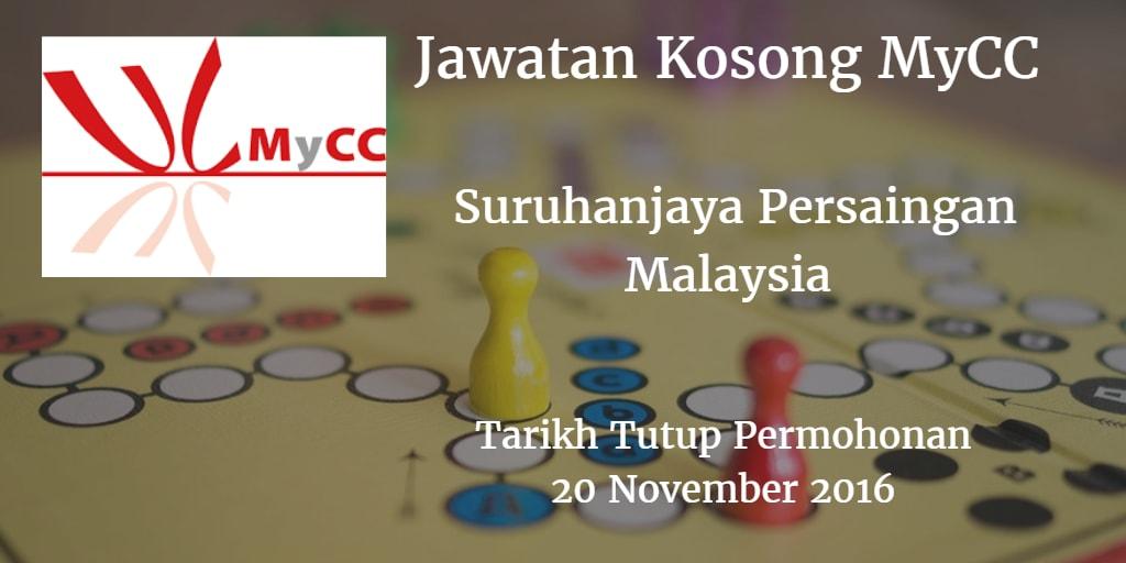 Jawatan Kosong MyCC 20 November 2016.