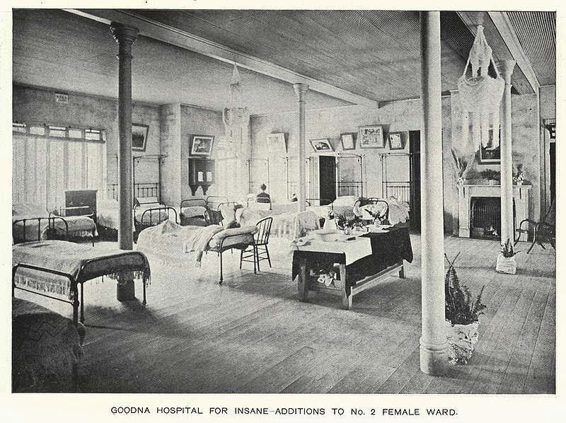 This 1913 photograph gives a somewhat sanitized impression of the women's ward at the Goodna Hospital for the Insane. (Brisbane City Council)