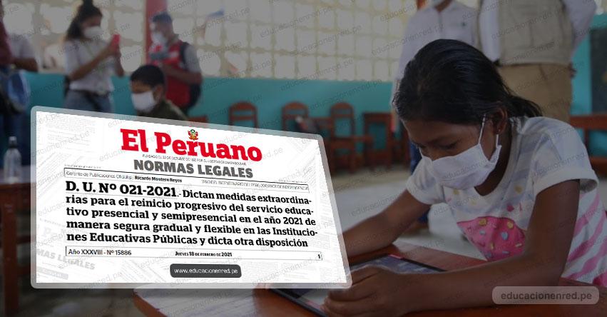 INICIO DE CLASES 2021: Oficializan medidas económicas para reinicio progresivo de clases escolares (D. U. Nº 021-2021)