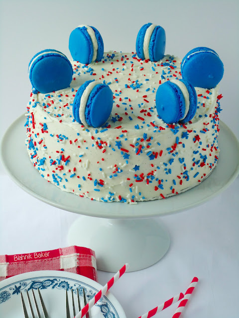 red white and blue cake| Blahnik Baker