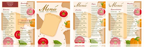 menu para restaurante gratis para editar en word