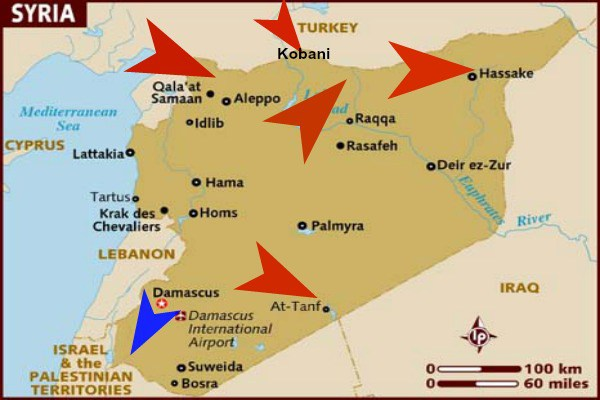 US Bases Strategically Placed To Prevent Syrian Military From - Qamishli map