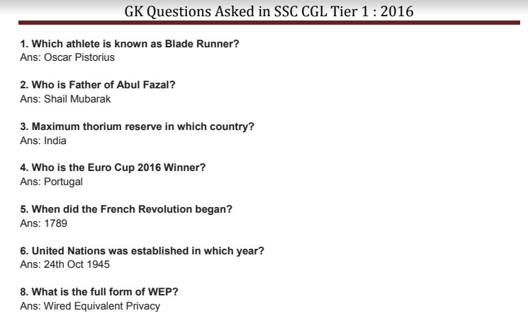 GK Questions Asked in SSC CGL Tier 1 2016 PDF Download