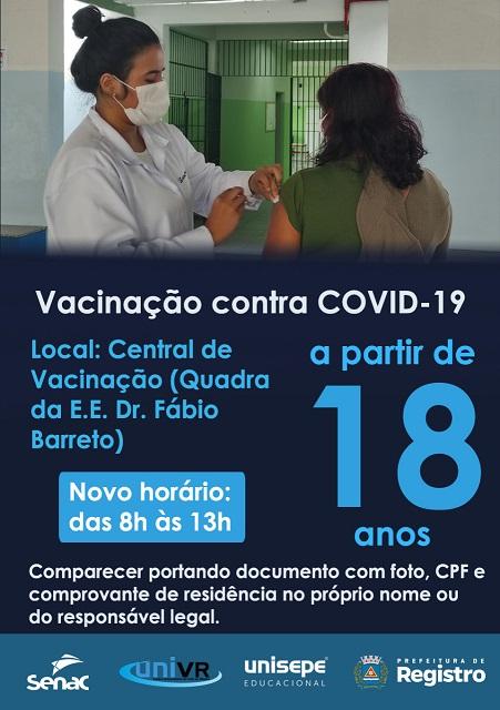 Vacinação contra Covid-19 acima de 18 anos em Registro-SP