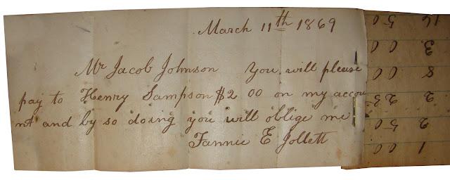 Draft signed by Fannie Jollett 1869 https://jollettetc.blogspot.com