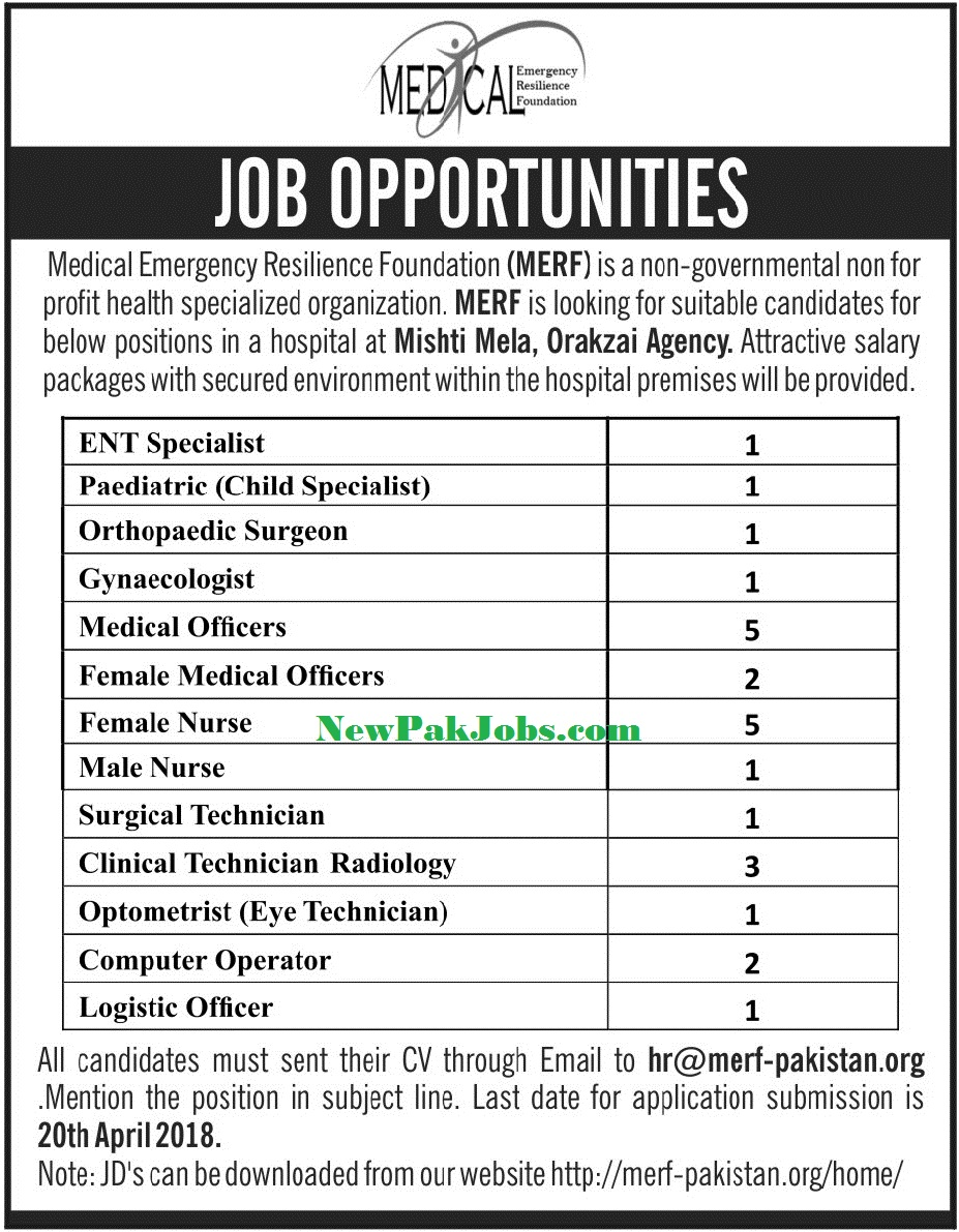 NGO Jobs in Medical Emergency Resilience Foundation MERF
