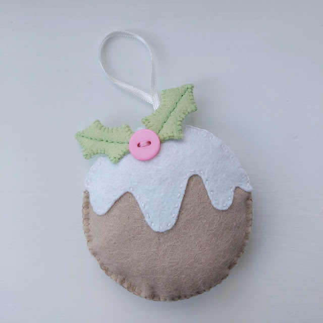 Felt pastel Christmas Pudding decoration