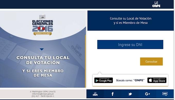 Consulta tu local de votación, Elecciones generales 2016
