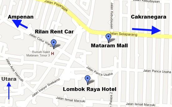 Peta petunjuk arah lokasi rilan rent car lombok