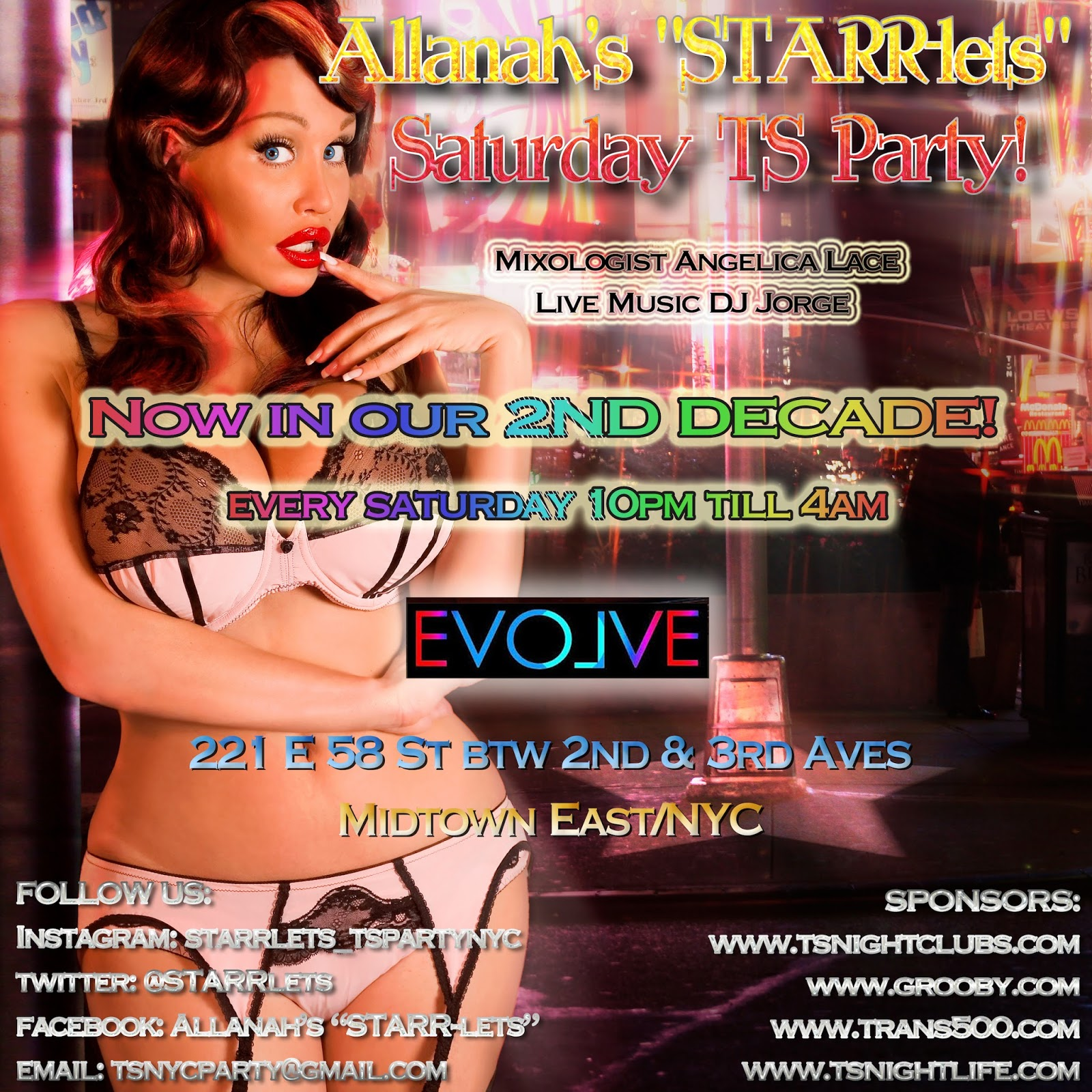"Allanah Starr allanah's ""starrlets"" saturday ts party: tonight in nyc"