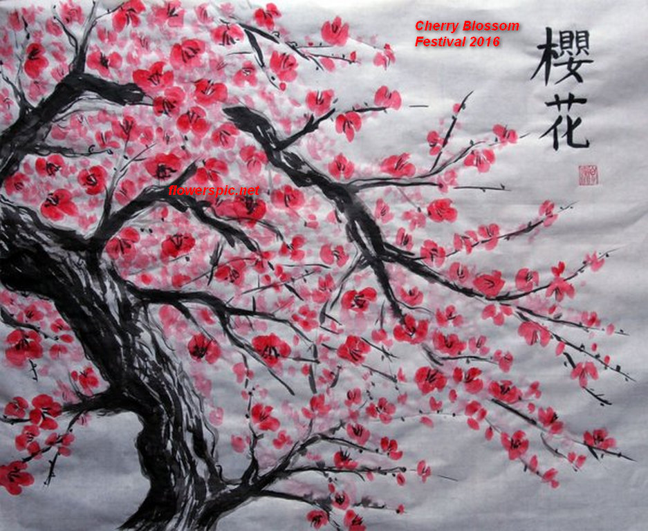 Image gallery japanese cherry tree art for Cherry blossom mural works