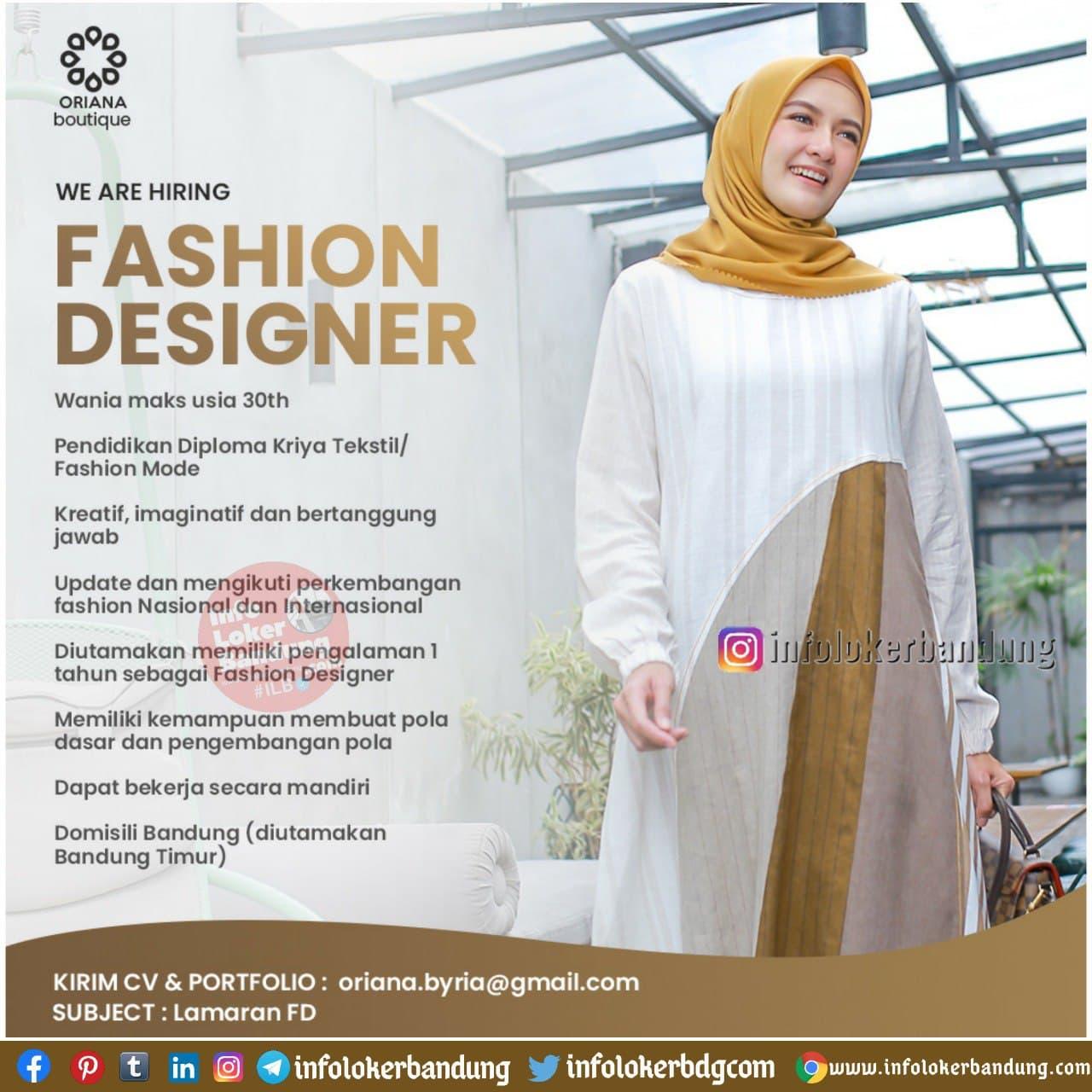 Lowongan Kerja Oriana Boutiques Bandung Januari 2021