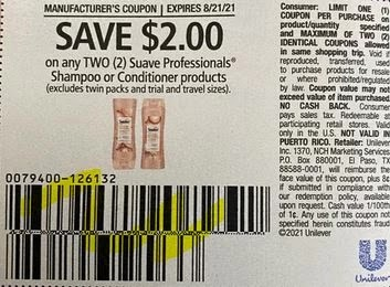 Suave Professionals Shampoo or Conditioner products Coupon from