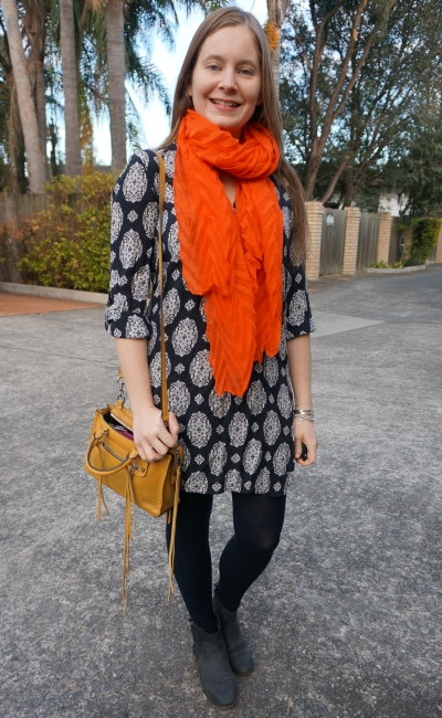 navy printed shift dress with orange scarf and mustard yellow micro regan bag SAHM shopping style | awayfromblue