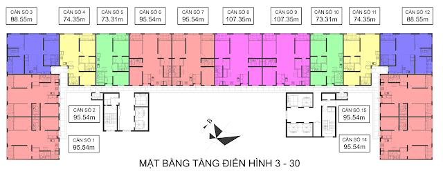 Mặt bằng tòa CT-07 Booyoung Vina