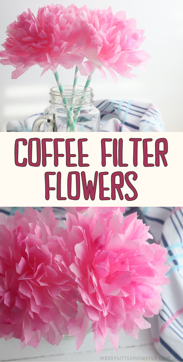 Coffee filter flowers craft for kids. Easy paper flowers craft idea for Spring.