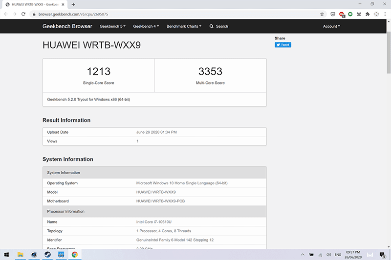 Huawei MateBook 13 Geekbench scores