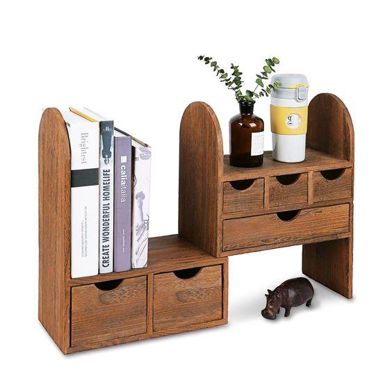 #SAT307BR Large Adjustable Wooden Desktop Organizer for Office Supplies