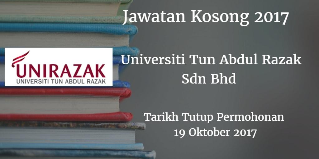 Jawatan Kosong Universiti Tun Abdul Razak Sdn Bhd 19 Oktober 2017