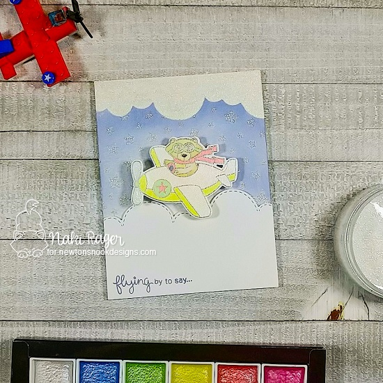 Flying By to Say...Card by Nakana Rager | Winston Takes Flight Stamp Set, Sky Borders Die Set and Clouds and Cascading Stars Stencils by Newton's Nook Designs #newtonsnook #handmade