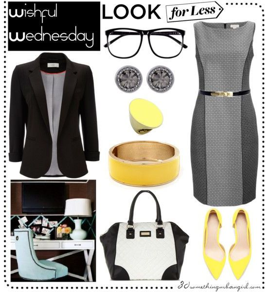 perfect work wear outfit with grey dress and yellow shoes and black blazer, white bag
