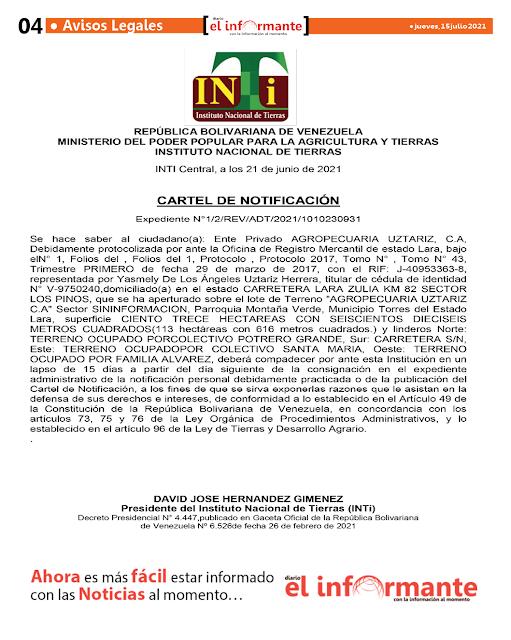 CARTEL DE NOTIFICACIÓN   Expediente N°1/2/REV/ADT/2021/1010230931