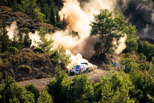 Toyota Yaris World Rally Car going through forest on Rally Turkey