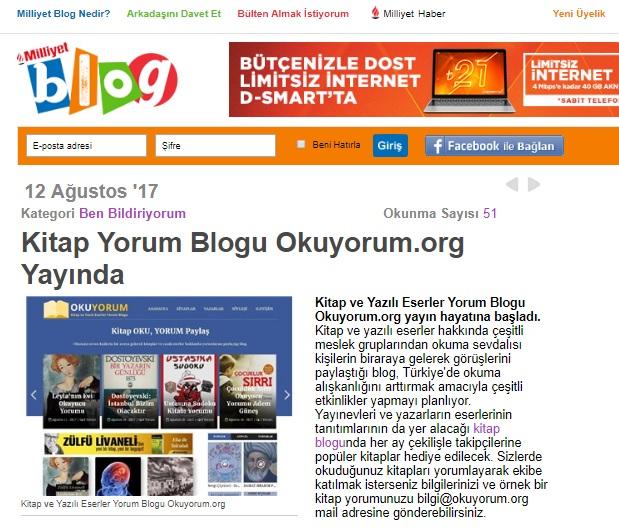 Kitap Blogu Okuyorum.org Milliyet Blog'da