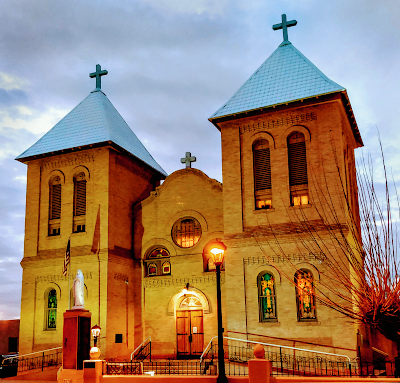 san albino church mesilla new mexico at dusk