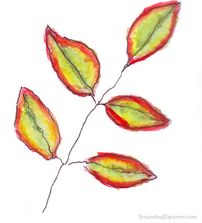 Autumn leaf line and wash watercolour/watercolour in red, gold and green.