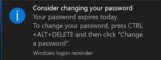 Screenshot of Windows logon reminder to change password by clicking Control + Alt + Delete