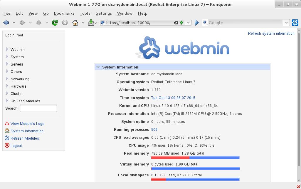 webmin pour redhat