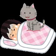 睡眠中に猫に乗られる人のイラスト(女性)