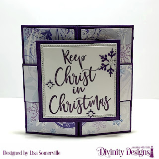 Stamp Set: Keep Christ, Custom Dies: Pop Out Card with Layers, Squares, Pierced Squares, Belly Band, Christmas Dove, Paper Collection: Christmas 2019