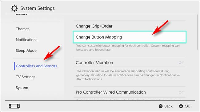 حدد تغيير تعيين الأزرار على Nintendo Switch