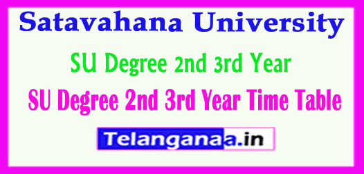 SU Degree 2nd  3rd Year Time Table Satavahana University Annual Exam Time Table