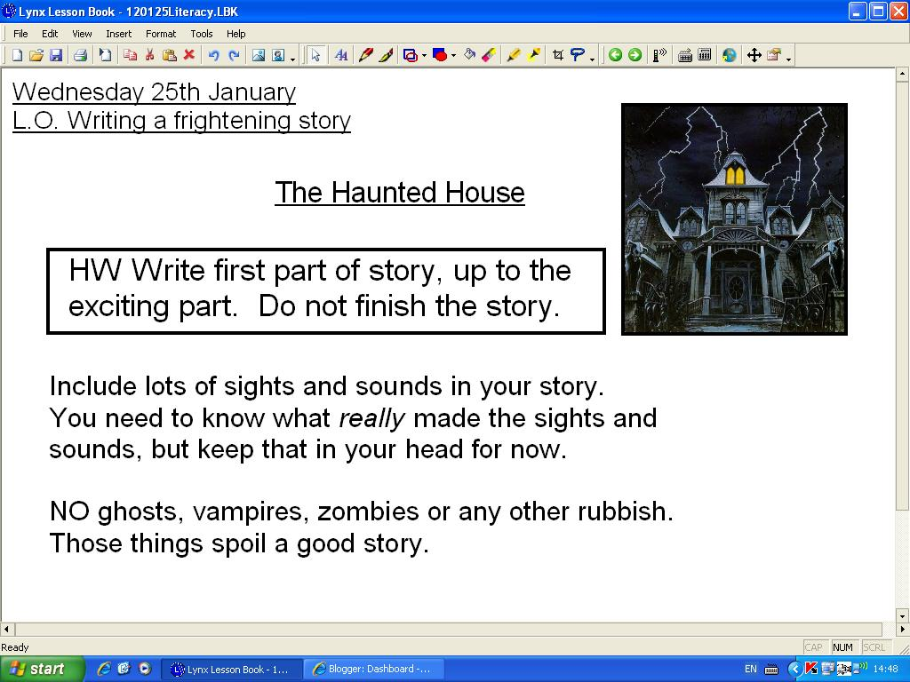 Mr Howe's Class: Literacy: writing a story with a